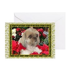Shih Tzu Christmas Poinsettia Sandy Greeting Cards