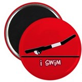 "i swim (boy) solid red 2.25"" Magnet (100 pack)"