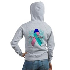 Thyroid Cancer Flourish Zip Hoodie