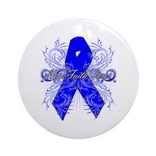 Colon Cancer Flourish Ornament (Round)
