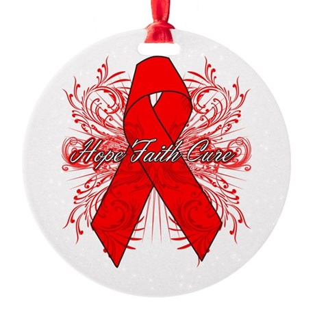 Blood Cancer Flourish Round Ornament