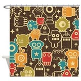 Retro Robots Shower Curtain