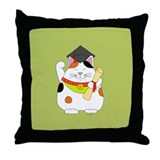 Graduation Maneki Neko Throw Pillow