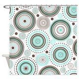 Turquoise Circles Shower Curtain