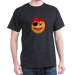 Pirate Smiley Face Black T-Shirt