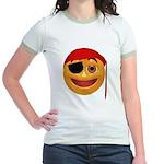 Pirate Smiley Face Jr. Ringer T-Shirt