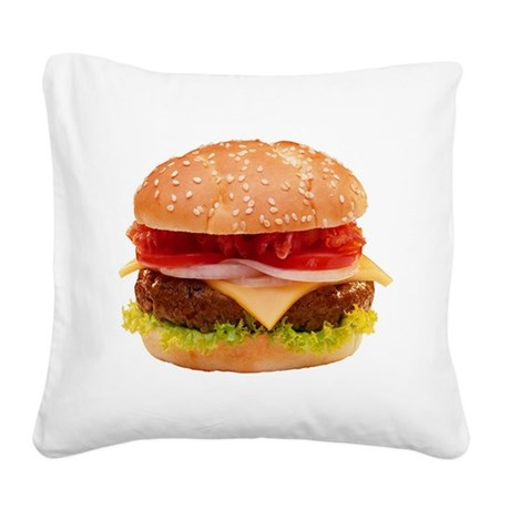 Cheeseburger Square Canvas Pillow