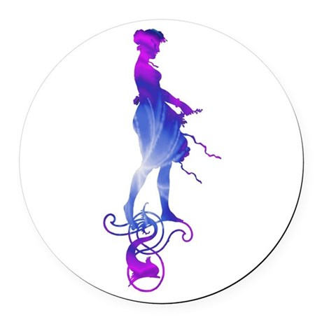girl2a.png Round Car Magnet