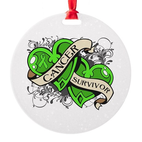Lymphoma Survivor Hearts Round Ornament