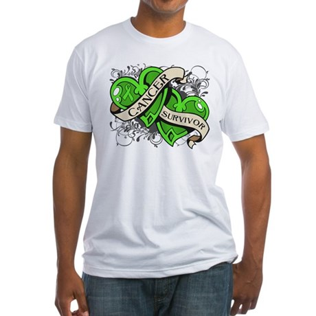 Lymphoma Survivor Hearts Fitted T-Shirt