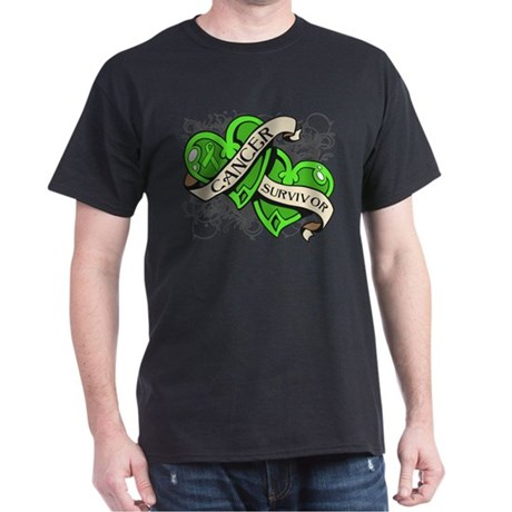 Lymphoma Survivor Hearts Dark T-Shirt