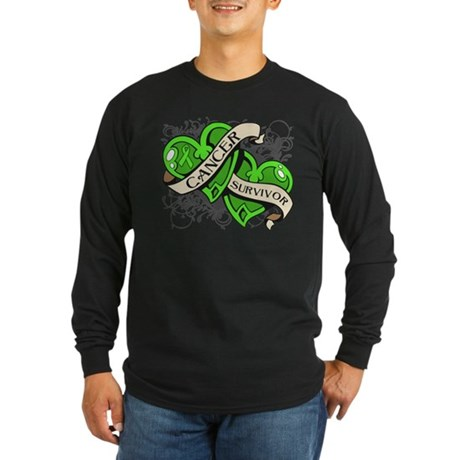 Lymphoma Survivor Hearts Long Sleeve Dark T-Shirt