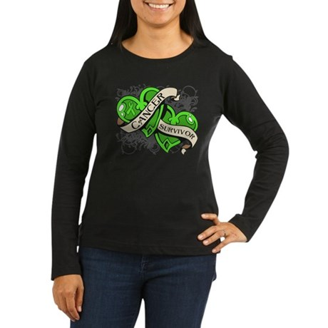 Lymphoma Survivor Hearts Women's Long Sleeve Dark
