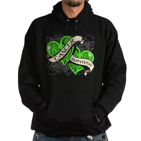 Lymphoma Survivor Hearts Hoodie (dark)
