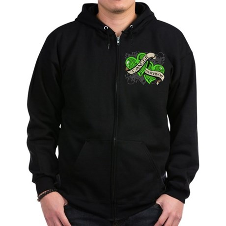Lymphoma Survivor Hearts Zip Hoodie (dark)