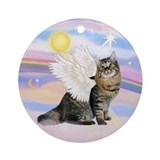 Clouds-Bobtail Angel Cat Ornament (Round)