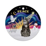 Xmas Sunrise - Tabby cat (b2) Ornament (Round)