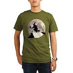Flying Witch Moon Organic Men's T-Shirt (dark)