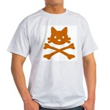 Pirate Cat Skull Ash Grey T-Shirt