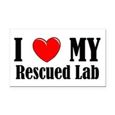 I Love My Rescued Lab Rectangle Car Magnet