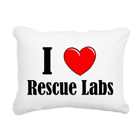 I Love Rescue Labradors Rectangular Canvas Pillow