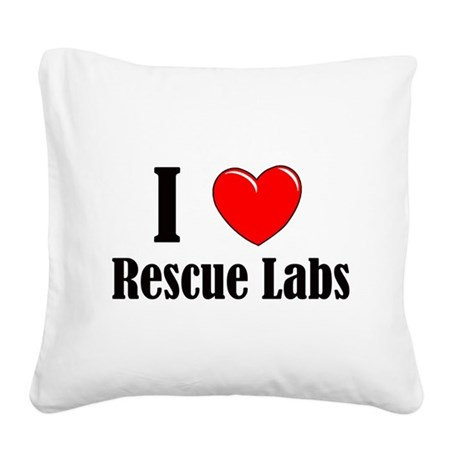I Love Rescue Labradors Square Canvas Pillow