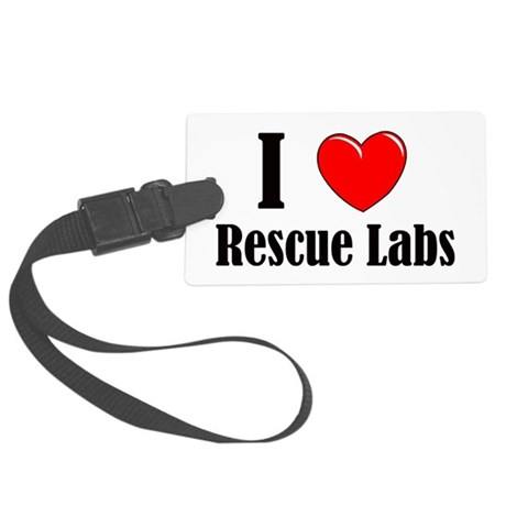 I Love Rescue Labradors Large Luggage Tag