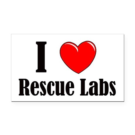 I Love Rescue Labradors Rectangle Car Magnet