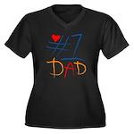 #1 Dad Women's Plus Size V-Neck Dark T-Shirt