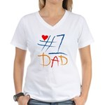 #1 Dad Women's V-Neck T-Shirt