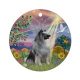Cloud Angel &amp; Keeshond Ornament (Round)