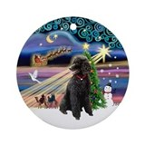 Xmas Magic &amp;amp; Black Poodle (ST) Ornament (Round