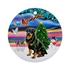 Xmas Magic & Rottweiler Ornament (Round)
