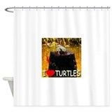 I Love Turtles Shower Curtain