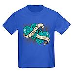 Ovarian Cancer Survivor Kids Dark T-Shirt