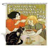 Vintage French Cat Tea Chocolat Shower Curtain