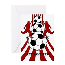 Personalized Red White Soccer Greeting Card