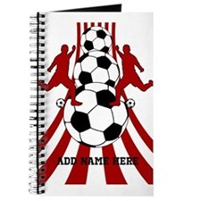 Personalized Red White Soccer Journal
