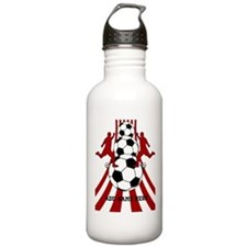 Personalized Red White Soccer Water Bottle