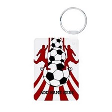 Personalized Red White Soccer Keychains