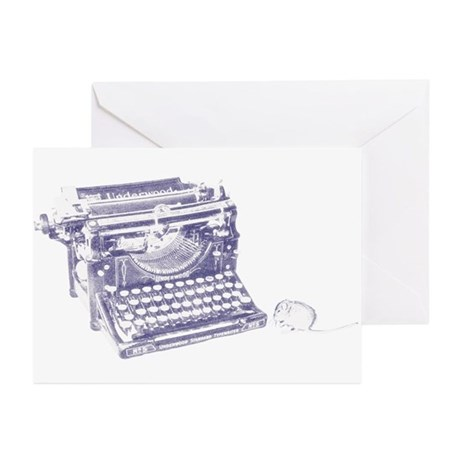 Vintage keyboard and mouse Greeting Cards (Pk of 2