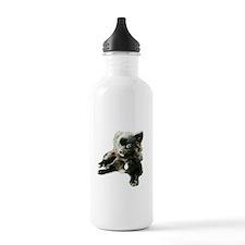 Adorable Black Pomeranian Puppy Water Bottle