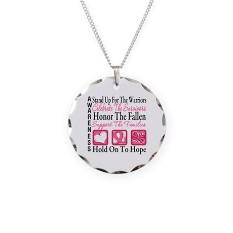 Breast Cancer StandUp Necklace Circle Charm