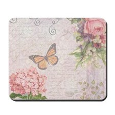 Vintage Pink flowers and butterfly Mousepad