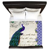 Vintage peacock collage King Duvet
