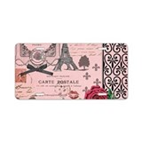 Vintage Pink Paris Collage Aluminum License Plate