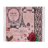 Vintage Pink Paris Collage Throw Blanket