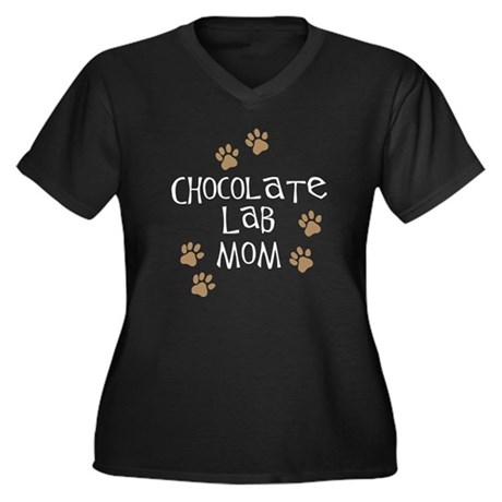 chocolate lab mom wh.png Women's Plus Size V-Neck