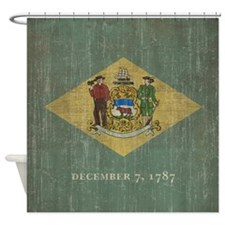 Vintage Delaware Flag Shower Curtain