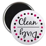 "Dishwasher Magnet - Pink and Black 2.25"" Magnet (1"